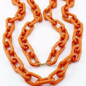 Jewelry - ORANGE ACRYLIC LINK CHAIN NECKLACE NEW